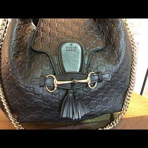 Gucci Emily Guccissima Black Leather Hobo Bag